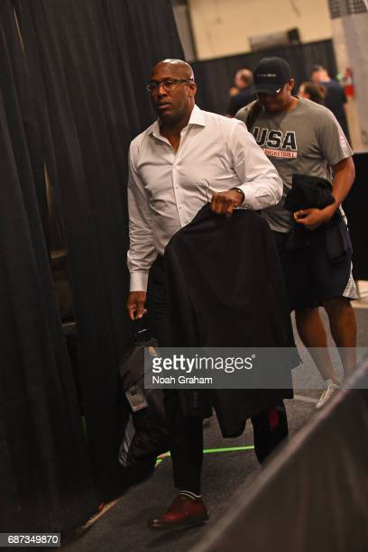 Mike Brown of the Golden State Warriors arrives at the arena before Game Four of the Western Conference Finals against the San Antonio Spurs during...