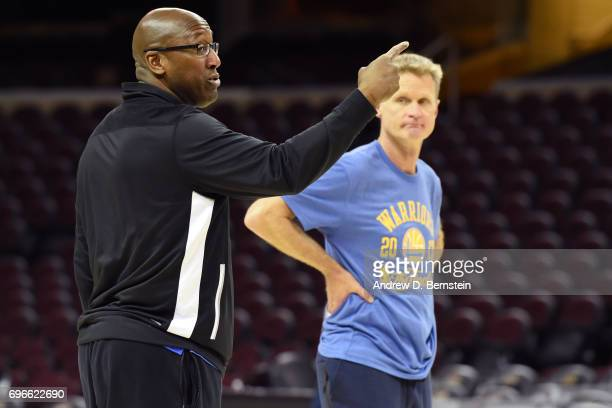 Mike Brown of the Golden State Warriors coaches during practice and media availability as part of the 2017 NBA Finals on June 06 2017 at Quicken...