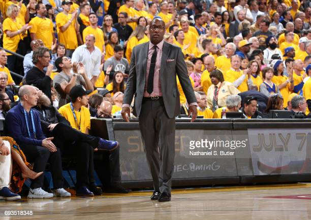 Mike Brown of the Golden State Warriors looks on in Game One of the 2017 NBA Finals on June 1 2017 at ORACLE Arena in Oakland California NOTE TO USER...