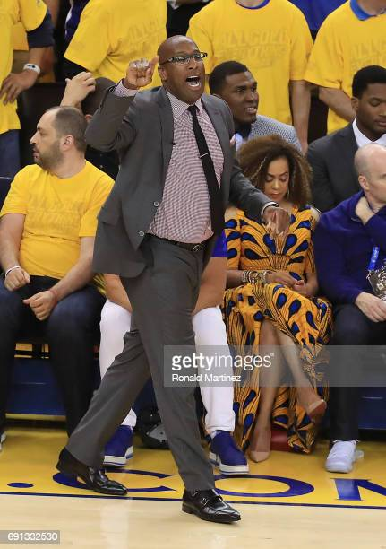 Mike Brown of the Golden State Warriors reacts against the Cleveland Cavaliers in Game 1 of the 2017 NBA Finals at ORACLE Arena on June 1 2017 in...