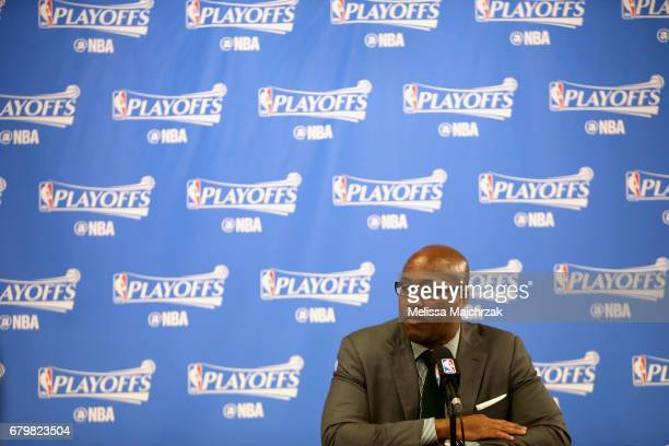 Mike Brown of the Golden State Warriors talks to the media after the game against the Utah Jazz during Game Three of the Western Conference...