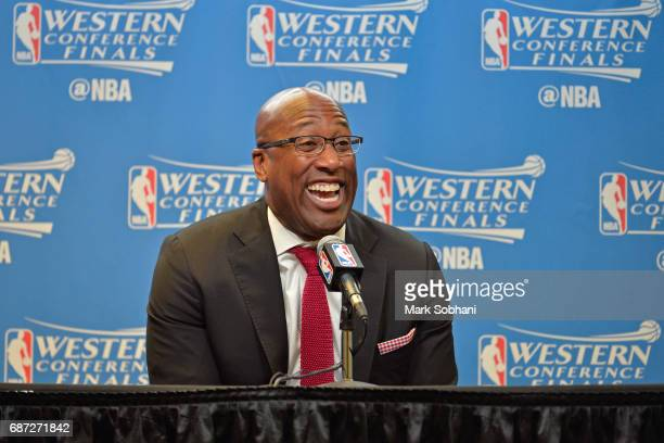 Mike Brown of the Golden State Warriors talks to the media during a press conference after Game Four of the Western Conference Finals against the San...