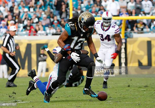 Mike Brown of the Jacksonville Jaguars fumbles during the game against the Buffalo Bills at EverBank Field on December 15 2013 in Jacksonville Florida