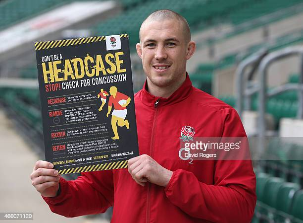 Mike Brown the England fullback who is supporting the RFU's latest concussion awareness initiative for the community game poses with a promotional...