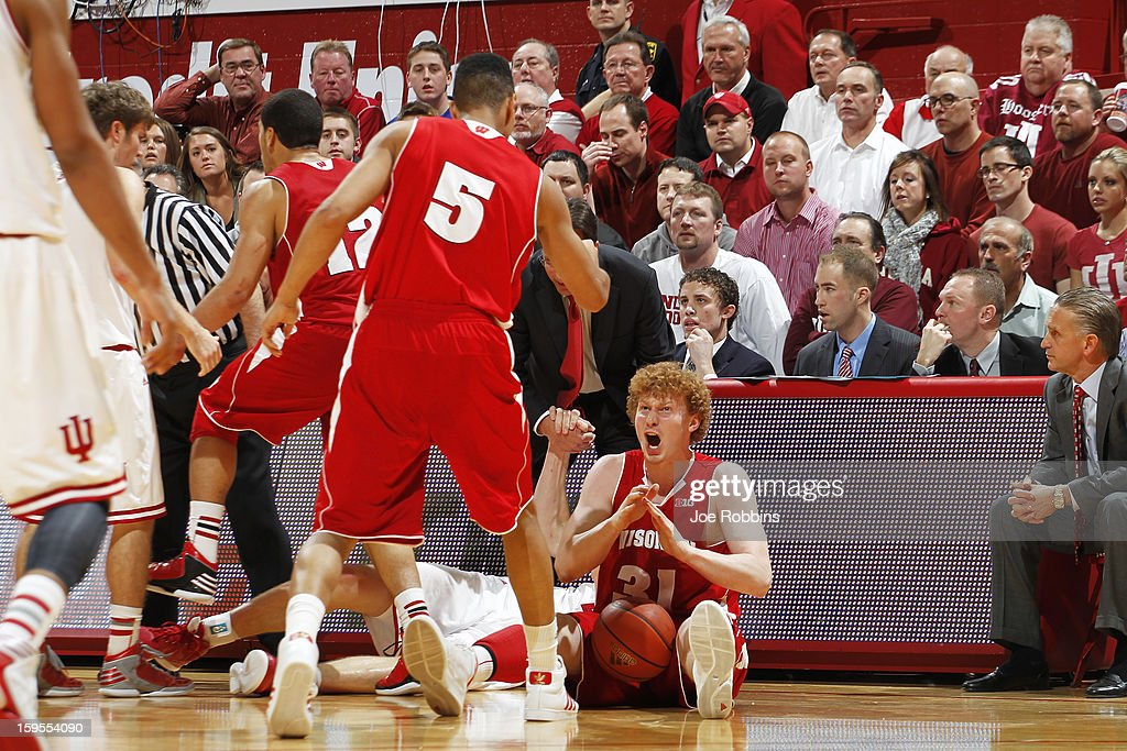 Mike Bruesewitz #31 of the Wisconsin Badgers celebrates after forcing a turnover against the Indiana Hoosiers during the game at Assembly Hall on January 15, 2013 in Bloomington, Indiana. Wisconsin defeated Indiana 64-59.