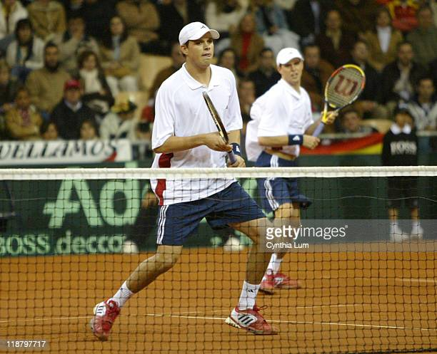 Mike Bryan and Bob Bryan of the United States during their Davis Cup final doubles match against Juan Carlos Ferrero and Tommy Robredo of Spain at La...