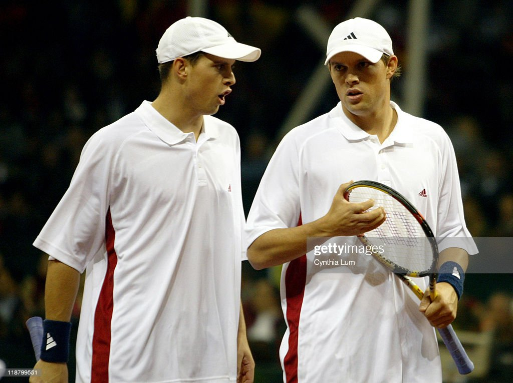 Mike Bryan and Bob Bryan of the United States during their Davis Cup final doubles match against Juan Carlos Ferrero and Tommy Robredo of Spain at La Cartuja Olympic stadium in Seville,Spain on December 4, 2004. The US won 6-0, 6-3, 6-2.