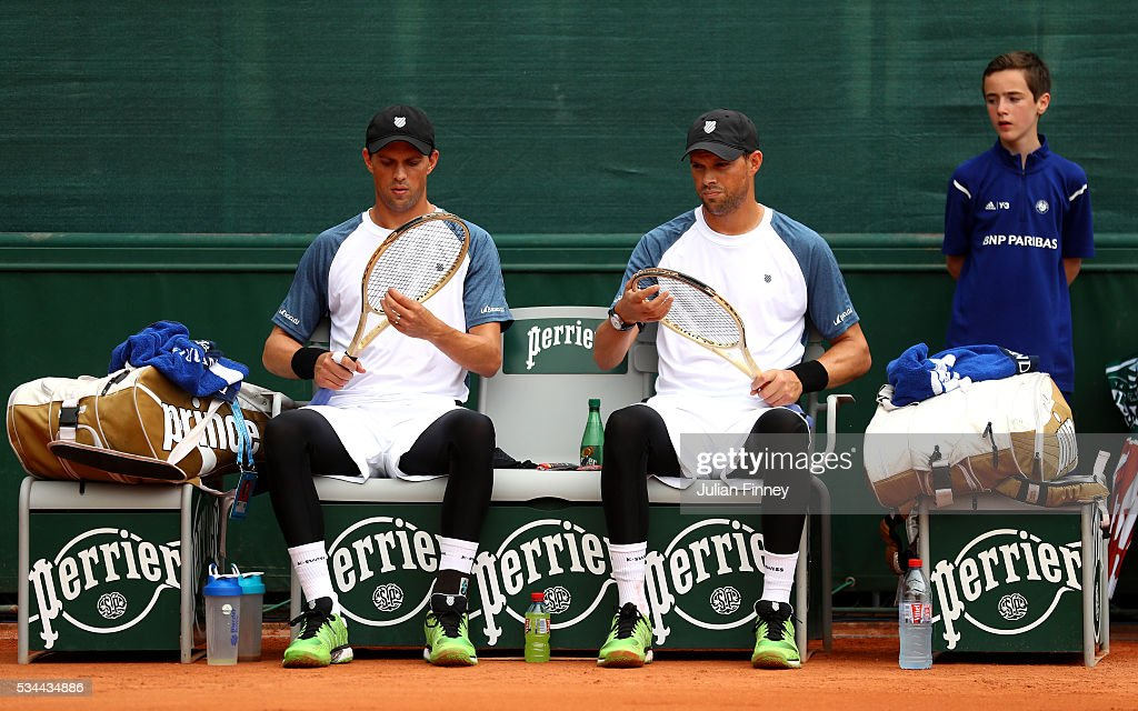 Mike Bryan and Bob Bryan of the United Statesin action during the Men's Doubles first round match against Mariusz Fyrstenberg of Poland and Santiago Gonzalez of Mexico on day five of the 2016 French Open at Roland Garros on May 26, 2016 in Paris, France.