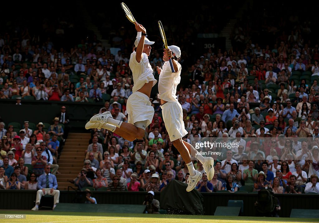 <a gi-track='captionPersonalityLinkClicked' href=/galleries/search?phrase=Mike+Bryan+-+Tennis+Player&family=editorial&specificpeople=204456 ng-click='$event.stopPropagation()'>Mike Bryan</a> and <a gi-track='captionPersonalityLinkClicked' href=/galleries/search?phrase=Bob+Bryan+-+Tennis+Player&family=editorial&specificpeople=203335 ng-click='$event.stopPropagation()'>Bob Bryan</a> of the United States of America bump chests as they celebrate match point during their Gentlemen's Doubles final match against Ivan Dodig of Croatia and Marcelo Melo of Brazil on day twelve of the Wimbledon Lawn Tennis Championships at the All England Lawn Tennis and Croquet Club on July 6, 2013 in London, England.