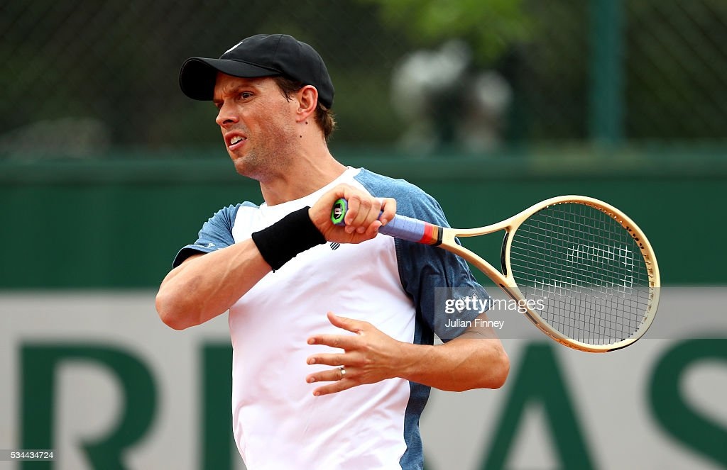 <a gi-track='captionPersonalityLinkClicked' href=/galleries/search?phrase=Mike+Bryan&family=editorial&specificpeople=204456 ng-click='$event.stopPropagation()'>Mike Bryan</a> of the United States hits a forehand during the Men's Doubles first round match against Mariusz Fyrstenberg of Poland and Santiago Gonzalez of Mexico on day five of the 2016 French Open at Roland Garros on May 26, 2016 in Paris, France.