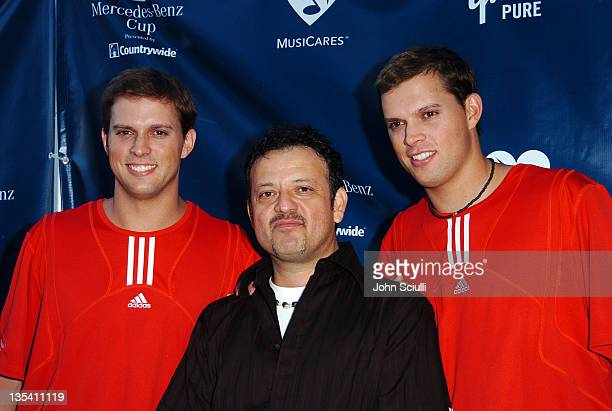 Mike Bryan Paul Rodriguez and Bob Bryan during Gibson/Baldwin Presents 'Night at the Net' at the 78th Annual MercedesBenz Cup Benefiting MUSICARES...