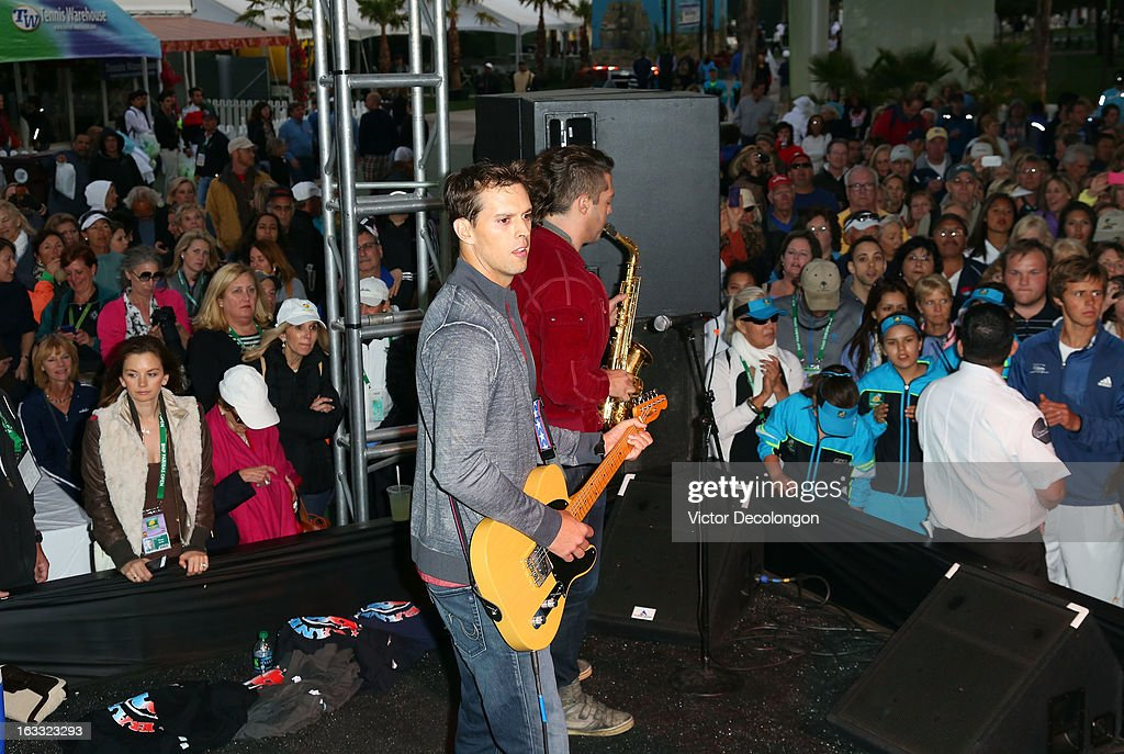 Mike Bryan plays the guitar onstage during a concert at Indian Wells Tennis Garden on March 7, 2013 in Indian Wells, California.