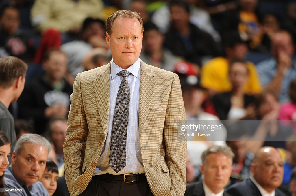Mike Budenholzer, assistant coach of the San Antonio Spurs, directs his team in place of Gregg Popovich against the Golden State Warriors on April 26, 2012 at Oracle Arena in Oakland, California.