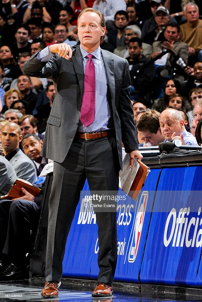 Mike Budenholzer, assistant coach of the San Antonio Spurs, directs his team against the Los Angeles Lakers in Game Two of the Western Conference Quarterfinals during the 2013 NBA Playoffs on April 24, 2013 at the AT&T Center in San Antonio, Texas.