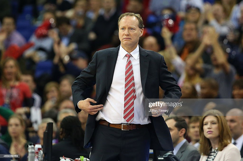 <a gi-track='captionPersonalityLinkClicked' href=/galleries/search?phrase=Mike+Budenholzer&family=editorial&specificpeople=2332367 ng-click='$event.stopPropagation()'>Mike Budenholzer</a>, head coach of Atlanta Hawks looks on during the Eastern Conference NBA match between Brooklyn Nets and Atlanta Hawks at O2 Arena on January 16, 2014 in London, England.