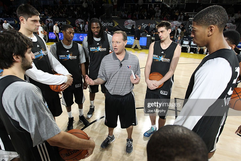 Mike Budenholzer head coach of Team Chuck coaches his team during the BBVA Rising Stars Challenge Practice in Sprint Arena during the 2013 NBA Jam Session on February 15, 2013 at the George R. Brown Convention Center in Houston, Texas.