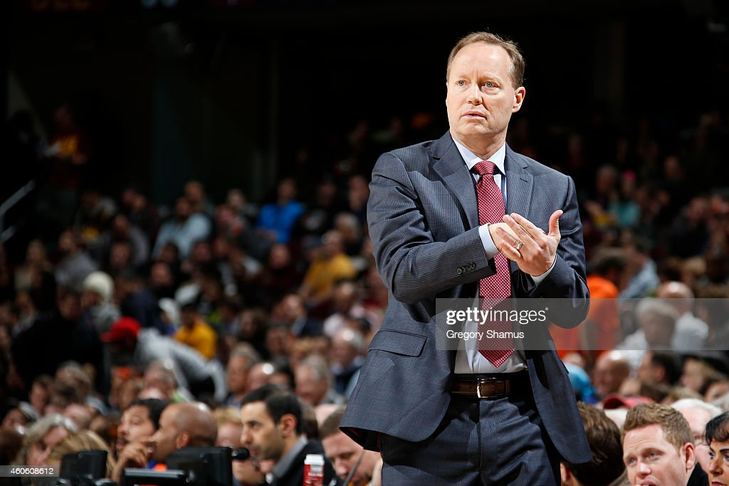 Mike Budenholzer Head Coach of the Atlanta Hawks calls a play during a game against the Cleveland Cavaliers at The Quicken Loans Arena on December 17...