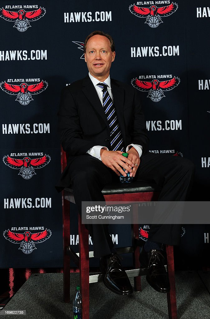Mike Budenholzer is introduced as the new Head Coach of the Atlanta Hawks during a press conference on May 29, 2013 at Philips Arena in Atlanta, Georgia.