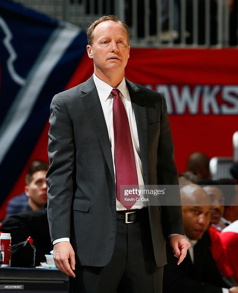 Mike Budenholzer of the Atlanta Hawks against the Indiana Pacers at Philips Arena on January 21 2015 in Atlanta Georgia NOTE TO USER User expressly...