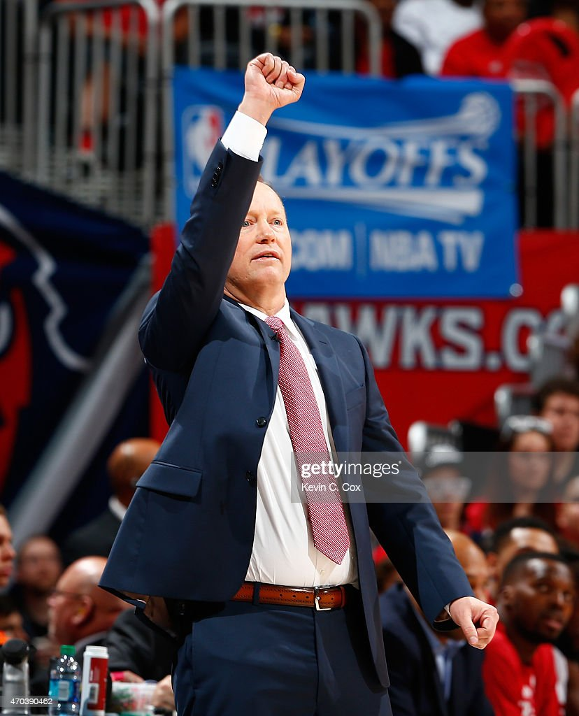 Mike Budenholzer of the Atlanta Hawks calls a play against the Brooklyn Nets during Game One of the Eastern Conference Quarterfinals of the NBA...