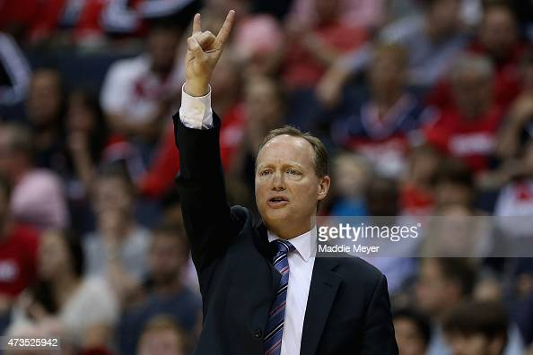 Mike Budenholzer of the Atlanta Hawks calls a play during the first quarter against the Washington Wizards at Verizon Center on May 15 2015 in...