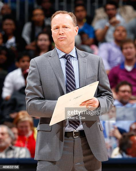 Mike Budenholzer of the Atlanta Hawks calls a timeout during the game against the New York Knicks at Philips Arena on April 13 2015 in Atlanta...