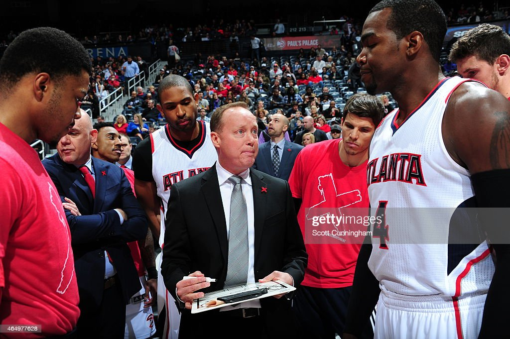 Mike Budenholzer of the Atlanta Hawks coaches during a game against the Orlando Magic on February 27 2015 at Philips Arena in Atlanta Georgia NOTE TO...