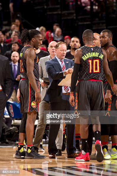 Mike Budenholzer of the Atlanta Hawks coaches his team during the game against the Portland Trail Blazers on February 13 2017 at the Moda Center in...
