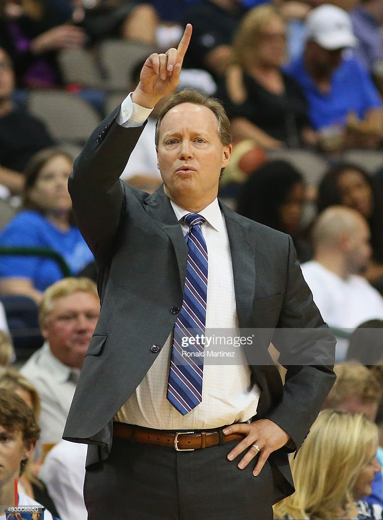 Mike Budenholzer of the Atlanta Hawks during a preseason game against the Dallas Mavericks at American Airlines Center on October 16, 2015 in Dallas, Texas.