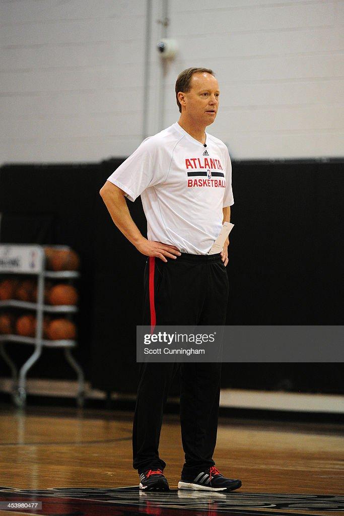 Mike Budenholzer of the Atlanta Hawks during practice on December 5, 2013 at Philips Arena in Atlanta, Georgia.