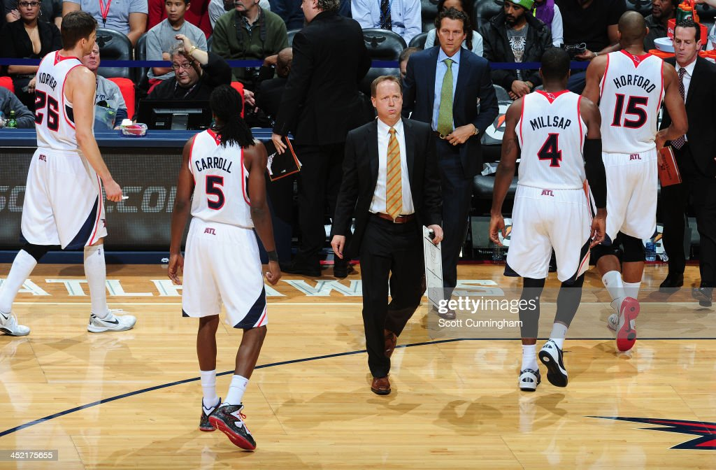 <a gi-track='captionPersonalityLinkClicked' href=/galleries/search?phrase=Mike+Budenholzer&family=editorial&specificpeople=2332367 ng-click='$event.stopPropagation()'>Mike Budenholzer</a> of the Atlanta Hawks during the game against the Orlando Magic on November 26, 2013 at Philips Arena in Atlanta, Georgia.