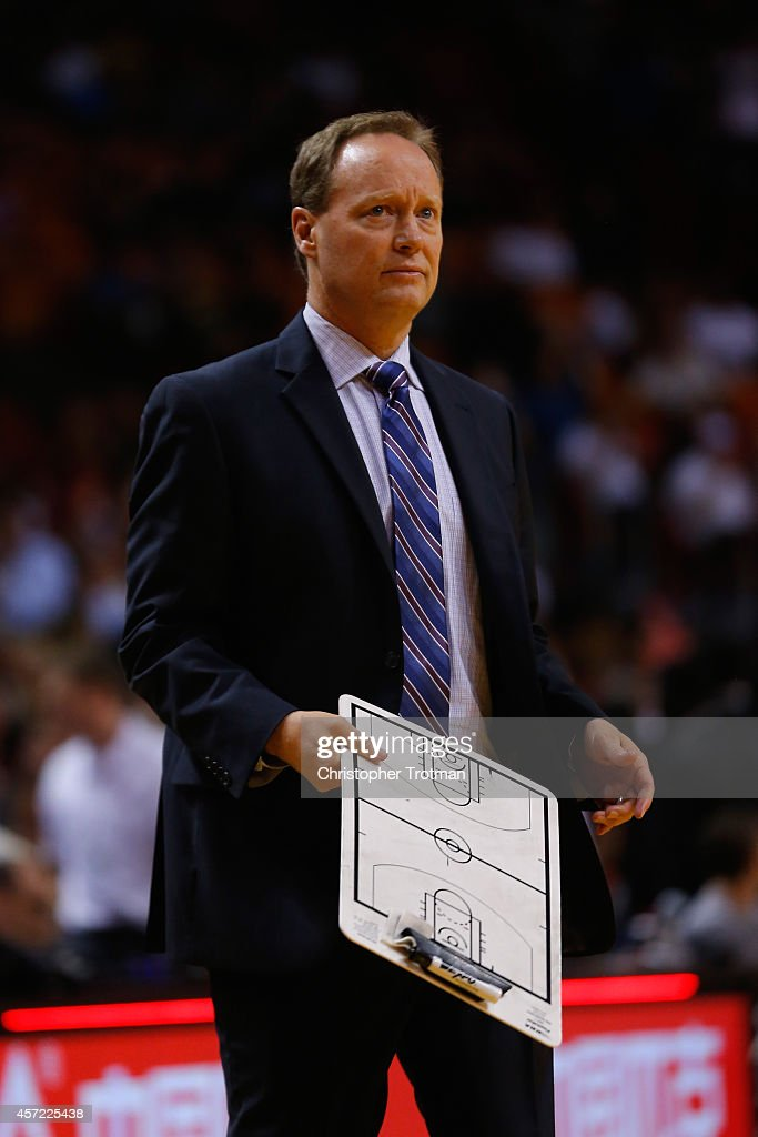 <a gi-track='captionPersonalityLinkClicked' href=/galleries/search?phrase=Mike+Budenholzer&family=editorial&specificpeople=2332367 ng-click='$event.stopPropagation()'>Mike Budenholzer</a> of the Atlanta Hawks looks on against the Miami Heat at American Airlines Arena on October 14, 2014 in Miami, Florida.