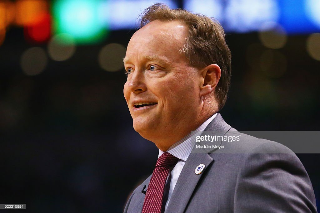 <a gi-track='captionPersonalityLinkClicked' href=/galleries/search?phrase=Mike+Budenholzer&family=editorial&specificpeople=2332367 ng-click='$event.stopPropagation()'>Mike Budenholzer</a> of the Atlanta Hawks looks on during the first quarter of Game Three of the Eastern Conference Quarterfinals during the 2016 NBA Playoffs between the Atlanta Hawks and the Boston Celtics at TD Garden on April 22, 2016 in Boston, Massachusetts. NOTE TO USER User expressly acknowledges and agrees that, by downloading and or using this photograph, user is consenting to the terms and conditions of the Getty Images License Agreement.