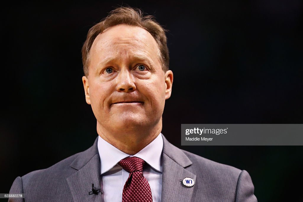 Mike Budenholzer of the Atlanta Hawks looks on during the fourth quarter of Game Three of the Eastern Conference Quarterfinals during the 2016 NBA...