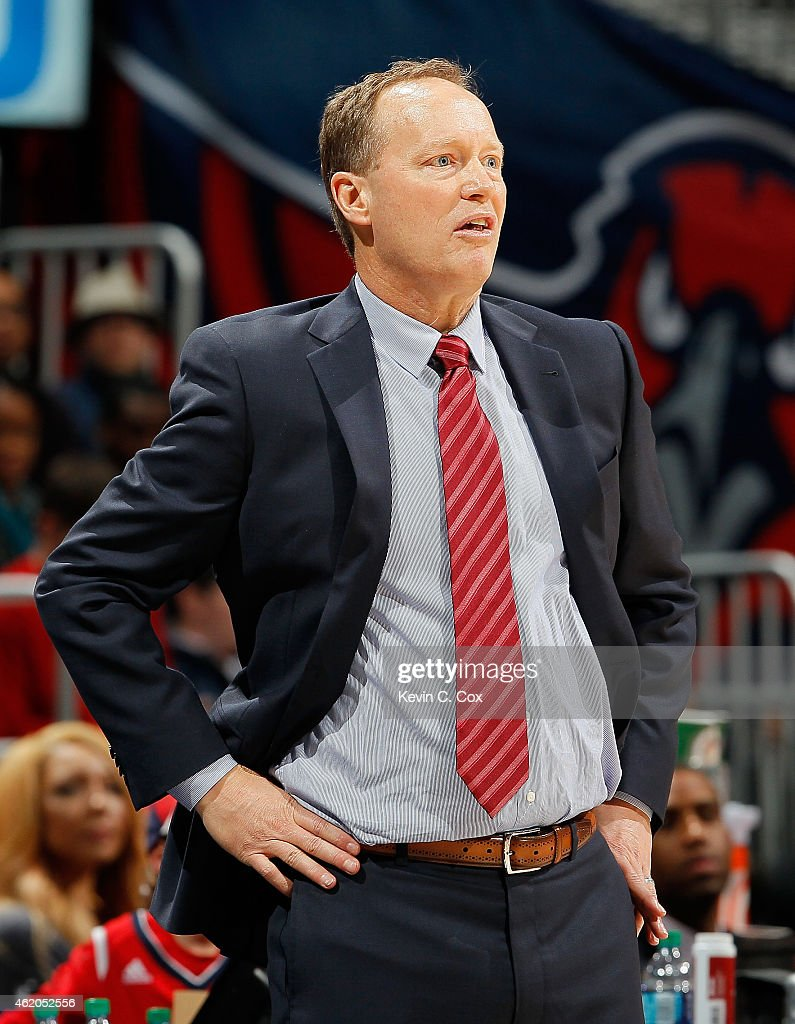 Mike Budenholzer of the Atlanta Hawks looks on during the game against the Oklahoma City Thunder at Philips Arena on January 23 2015 in Atlanta...