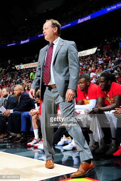 Mike Budenholzer of the Atlanta Hawks looks on during the game against the Washington Wizards in Game Three of the Eastern Conference Quarterfinals...