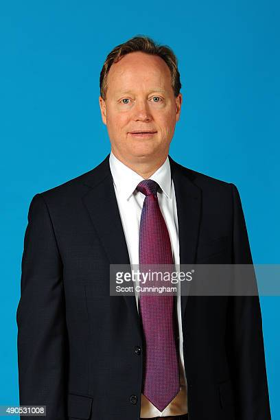Mike Budenholzer of the Atlanta Hawks poses for a photo during media day on September 28 2015 at Philips Arena in Atlanta Georgia NOTE TO USER User...