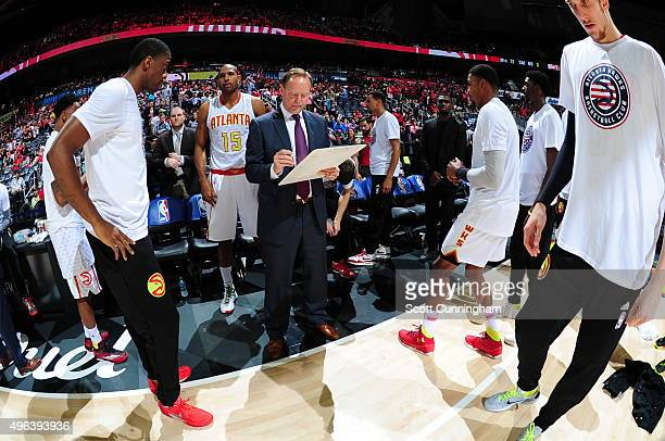 Mike Budenholzer of the Atlanta Hawks prepares for the game against the Indiana Pacers on November 7 2015 at Philips Arena in Atlanta Georgia NOTE TO...