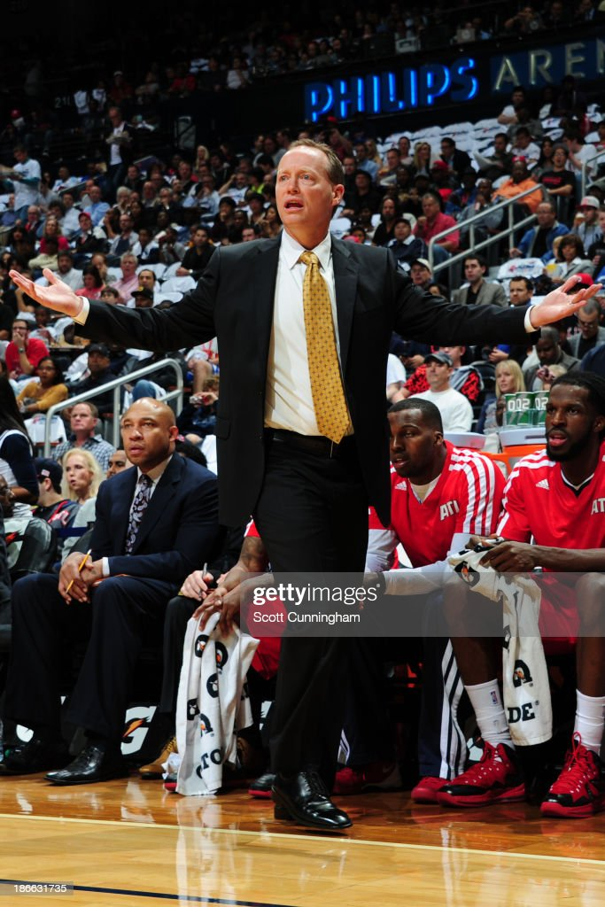 <a gi-track='captionPersonalityLinkClicked' href=/galleries/search?phrase=Mike+Budenholzer&family=editorial&specificpeople=2332367 ng-click='$event.stopPropagation()'>Mike Budenholzer</a> of the Atlanta Hawks questions a call against the Toronto Raptors on November 1, 2013 at Philips Arena in Atlanta, Georgia.