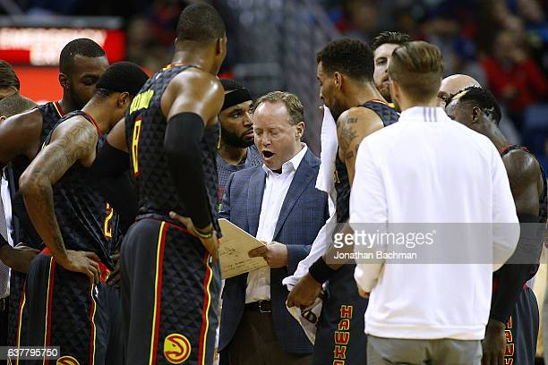Mike Budenholzer of the Atlanta Hawks reacts during the first half of a game against the New Orleans Pelicans at the Smoothie King Center on January...