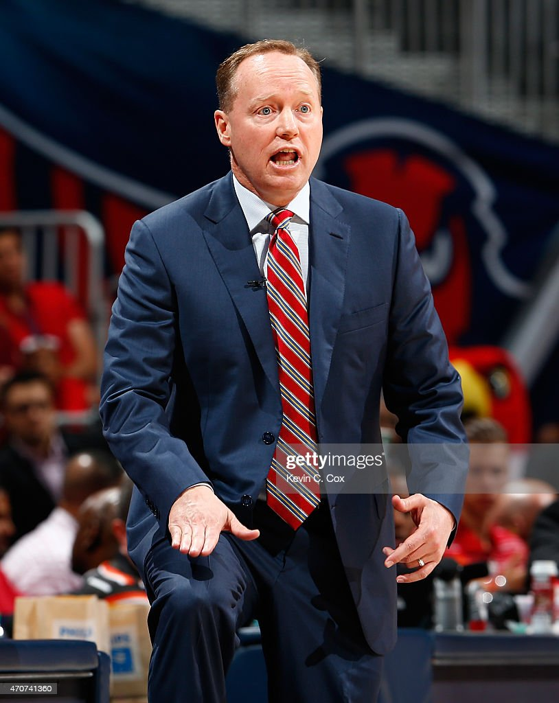 Mike Budenholzer of the Atlanta Hawks reacts to a call during Game Two of the Eastern Conference Quarterfinals of the NBA Playoffs against the Brooklyn Nets at Philips Arena on April 22, 2015 in Atlanta, Georgia.