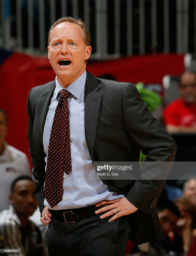 <a gi-track='captionPersonalityLinkClicked' href=/galleries/search?phrase=Mike+Budenholzer&family=editorial&specificpeople=2332367 ng-click='$event.stopPropagation()'>Mike Budenholzer</a> of the Atlanta Hawks reacts to a call during the game against the Los Angeles Clippers at Philips Arena on December 4, 2013 in Atlanta, Georgia.