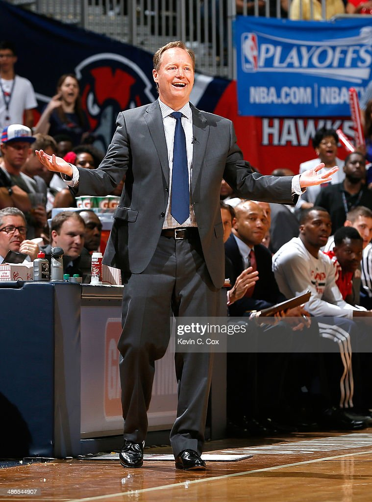 Mike Budenholzer of the Atlanta Hawks reacts to a call in Game 3 of the Eastern Conference Quarterfinals during the 2014 NBA Playoffs against the Indiana Pacers at Philips Arena on April 24, 2014 in Atlanta, Georgia.