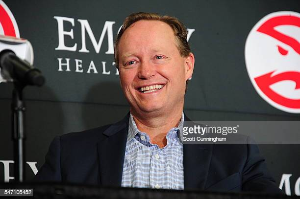 Mike Budenholzer of the Atlanta Hawks speaks during a Press Conference for recent signees Dwight Howard and Kent Bazemore on July 13 2016 at William...