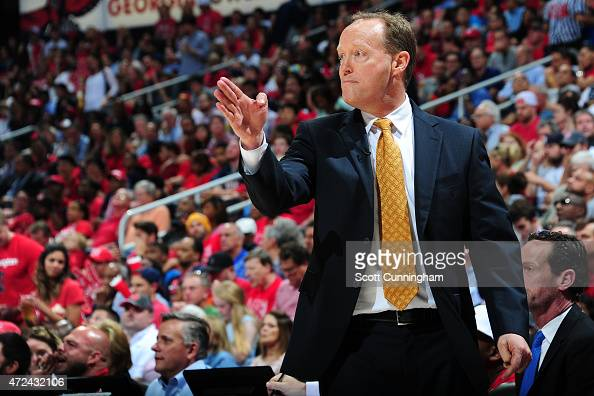 Mike Budenholzer of the Atlanta Hawks stands on the court during a game against the Washington Wizards in Game Two of the Eastern Conference...