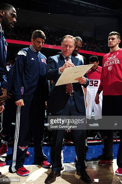 Mike Budenholzer of the Atlanta Hawks talks strategy during a game against the Brooklyn Nets in Game Two of the Eastern Conference Quarterfinals of...