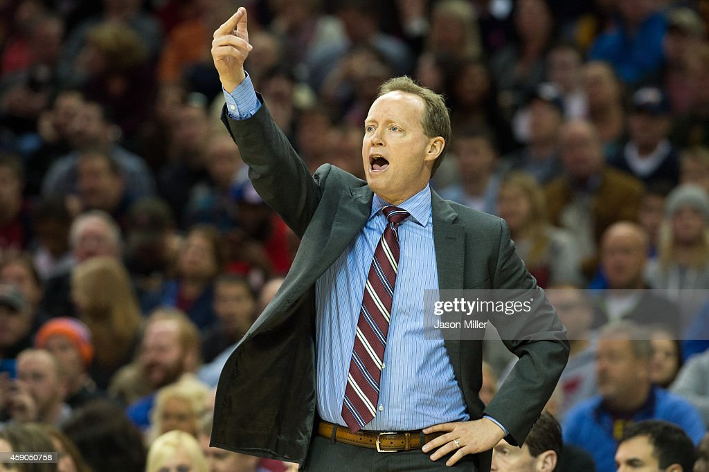 Mike Budenholzer of the Atlanta Hawks yells to his players during the first half against the Cleveland Cavaliers at Quicken Loans Arena on November...