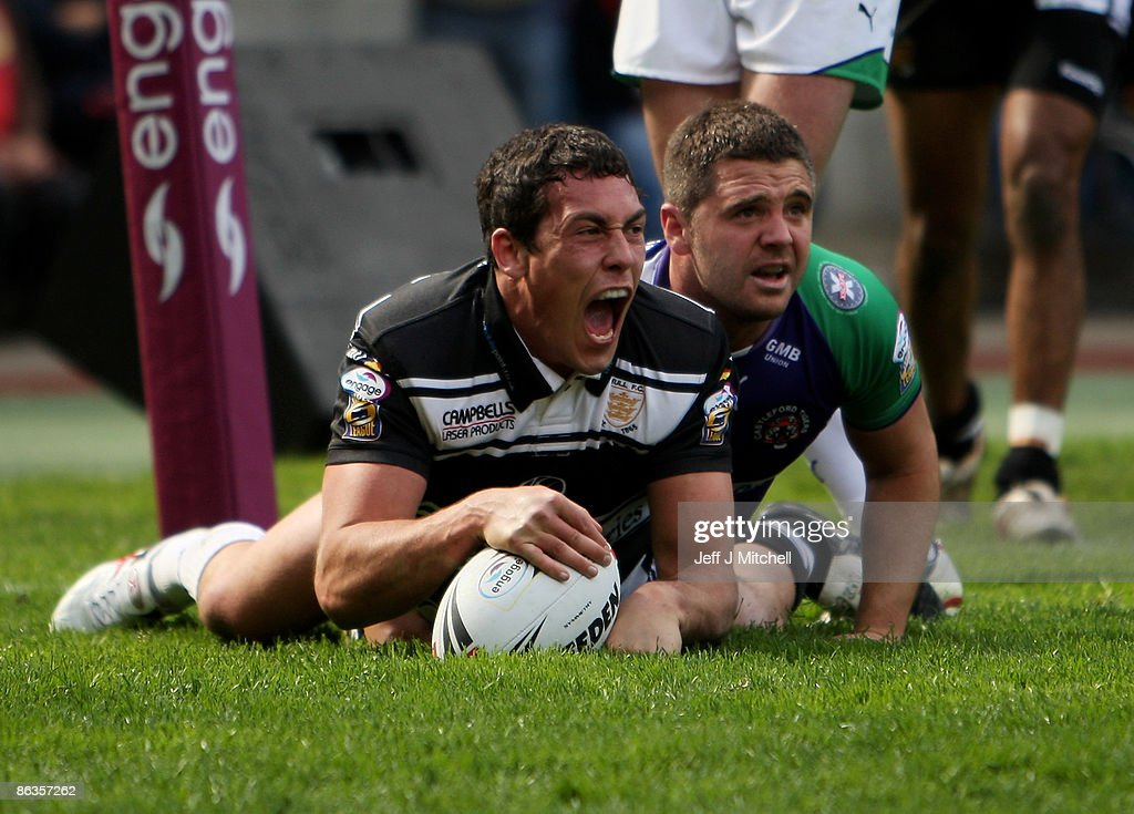 Mike Burnett of Hull FC celebrates after scoring a try during the Super League Magic Weekend match between Hull FC and Castleford Tigers at...