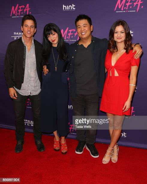 Mike C Manning Natalie Leite Shin Shimosawa and Leah McKendrick at the premiere of Dark Sky Films' 'MFA' at The London West Hollywood on October 2...