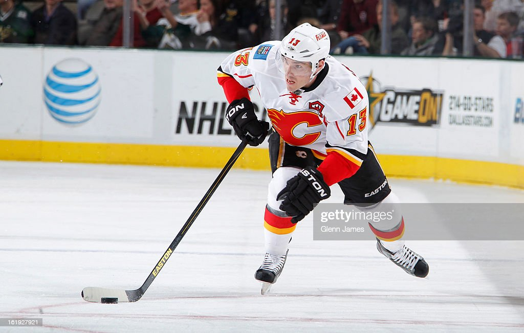 <a gi-track='captionPersonalityLinkClicked' href=/galleries/search?phrase=Mike+Cammalleri&family=editorial&specificpeople=634009 ng-click='$event.stopPropagation()'>Mike Cammalleri</a> #13 of the Calgary Flames handles the puck against the Dallas Stars at the American Airlines Center on February 17, 2013 in Dallas, Texas.